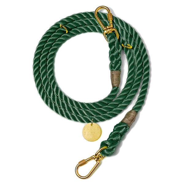 HUNTER GREEN ROPE DOG LEASH, ADJUSTABLE