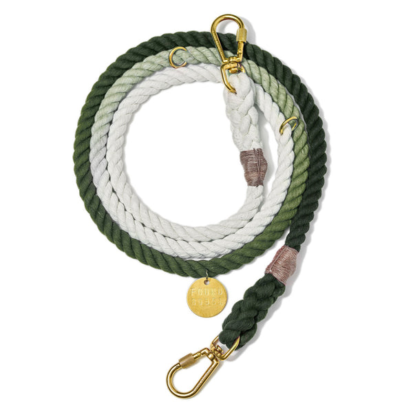 OLIVE OMBRE COTTON ROPE DOG LEASH, ADJUSTABLE