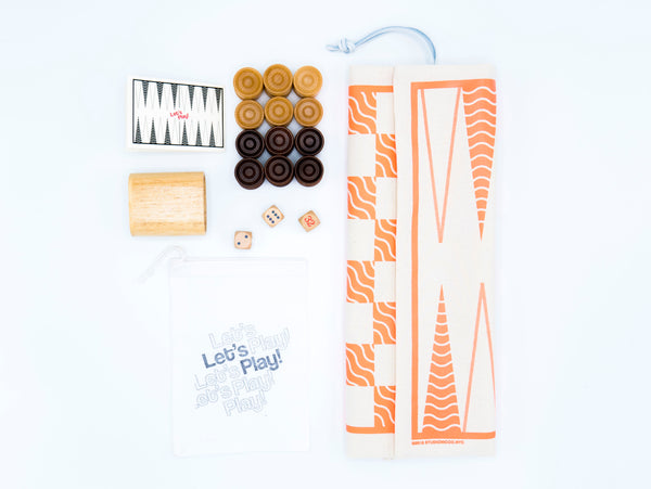 Neon Coral Waves, Backgammon & Checkers Game-Bag Set