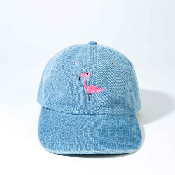 embroidered flamingo beach hat denim dad hat_a-summer-shop