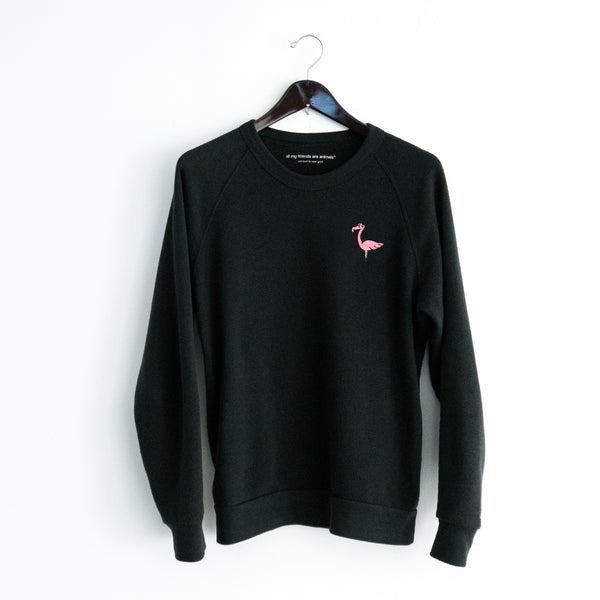Flamingo Embroidered Crest Crewneck Sweatshirt
