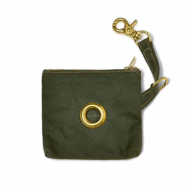 OLIVE COTTON CANVAS POOP BAG POUCH
