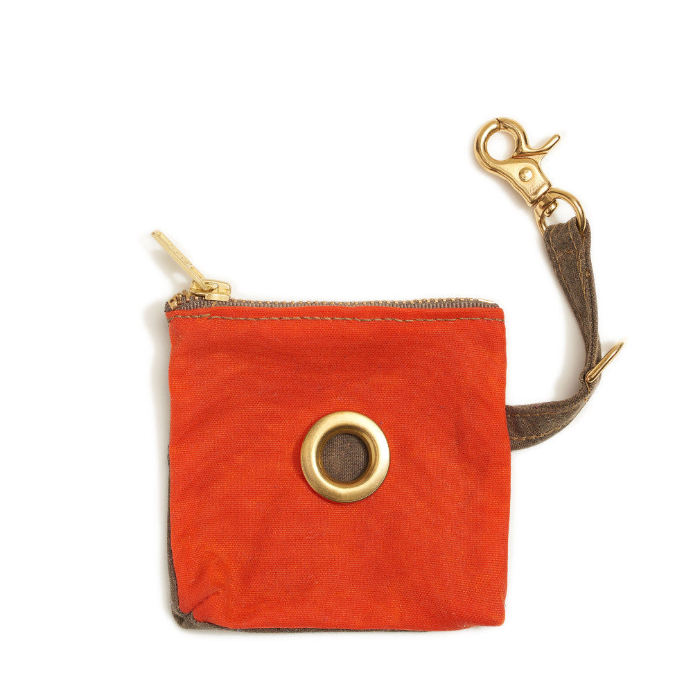 ORANGE WAXED COTTON CANVAS POOP BAG DISPENSER
