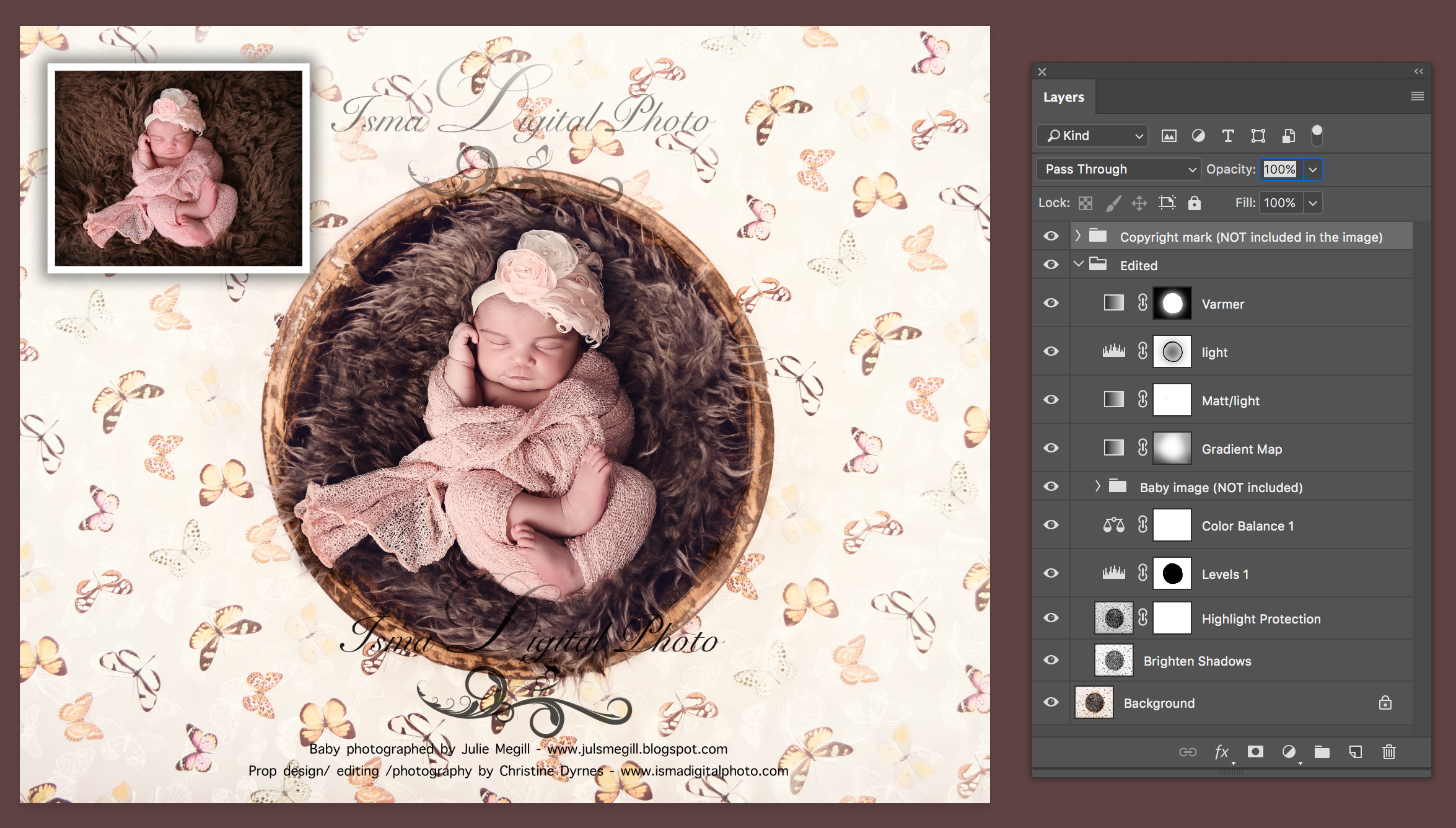 Digital Backdrop /Props for Newborn /baby photography - High resolution digital backdrop /background - Two JPG and one PSD file with layers