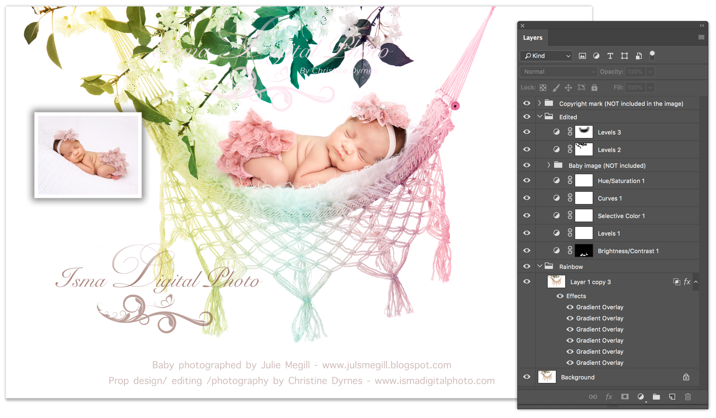 Hammock with pure white background and flowers  Digital Photography Backdrop /Props for Newborn Photography - High resolution digital backdrop - Two JPG and one PSD file with layers