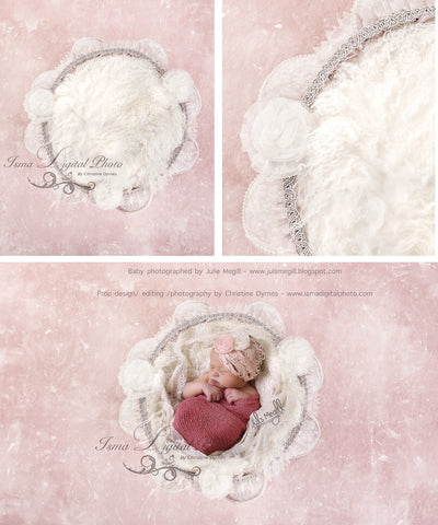 Adorable Baby Basket With Pink Background And Texture - Digital background backdrop Newborn Photography Prop download - psd file with Layers