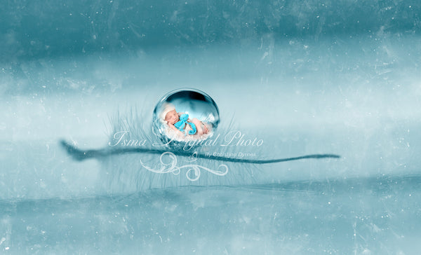 Artistic Blue Baby Drop - Beautiful Digital background Newborn Photography - Psd file with layers