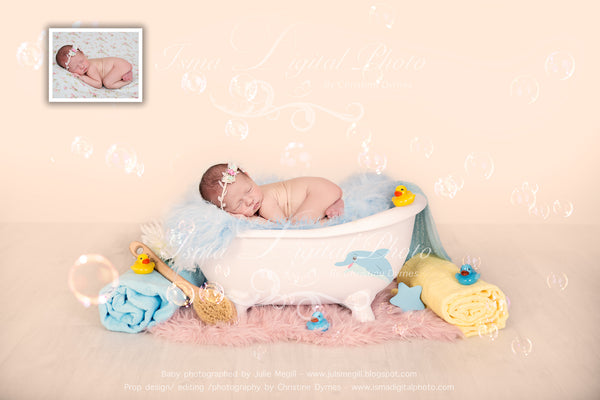 Bathtub with blue blanket - Digital backdrop /background - psd with layers