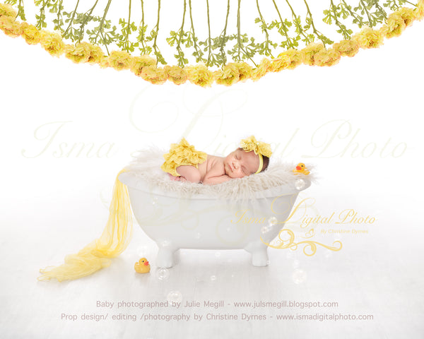 Bathtub with pure white background - Yellow flowers and rubber duck - Digital backdrop - psd with layers