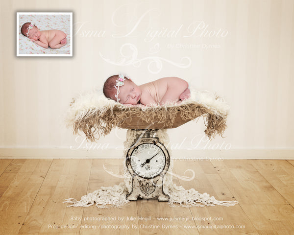Beautiful antique scale - Newborn digital backdrop /background - psd with layers