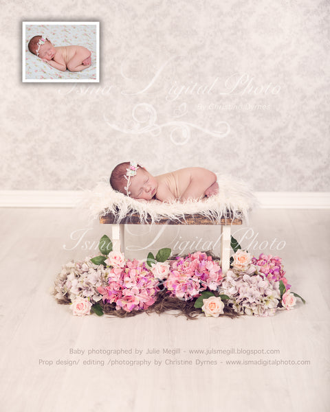 Beautiful stool with flower - Newborn digital backdrop /background - psd with layers