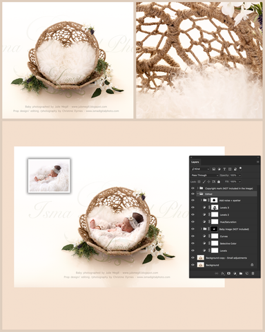Beautiful Twine Circles Bowl - Digital backdrop - psd with layers