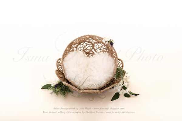 Beautiful Twine Circles Bowl - Newborn digital backdrop /background - JPG