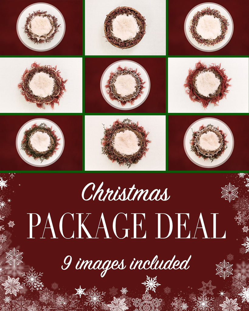 Package deal - Newborn Christmas nest - Digital backdrop /background - psd with layers
