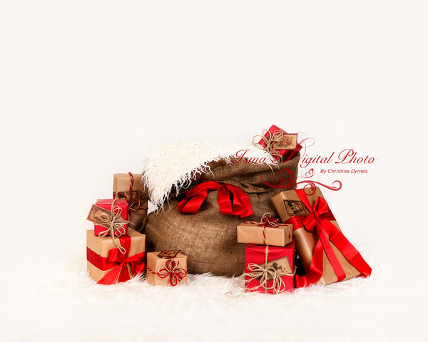 Christmas bag and gifts 2 - Digital backdrop /background - psd with layers