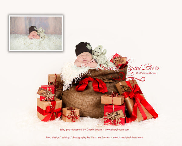 Christmas Bag And Gifts 2 - Beautiful Digital background Newborn Photography Prop download - psd with Layers