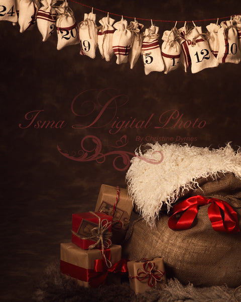 Christmas bag and gifts - Digital backdrop /background - psd with layers