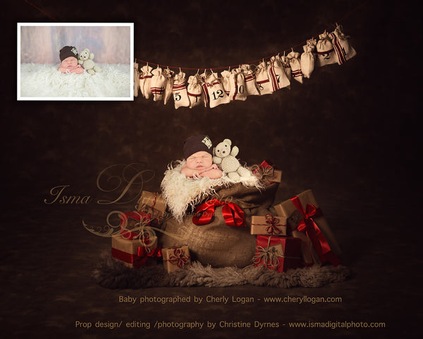 Christmas Bag And Gifts With Dark Background - Beautiful Digital background Newborn Photography Prop download - psd with Layers