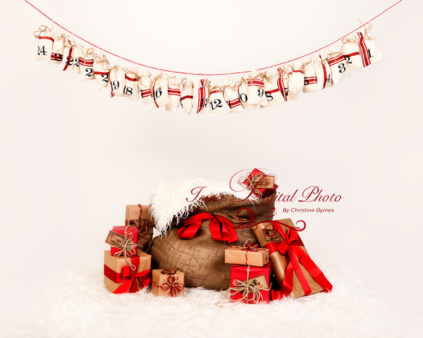 Christmas Bag And Gifts - Beautiful Digital background Newborn Photography Prop download - psd with Layers