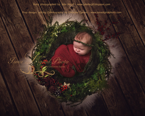 Christmas Garland With Dark And Light Wool - Wooden Floor - Beautiful Digital background Newborn  Prop download - 2 psd file with Layers