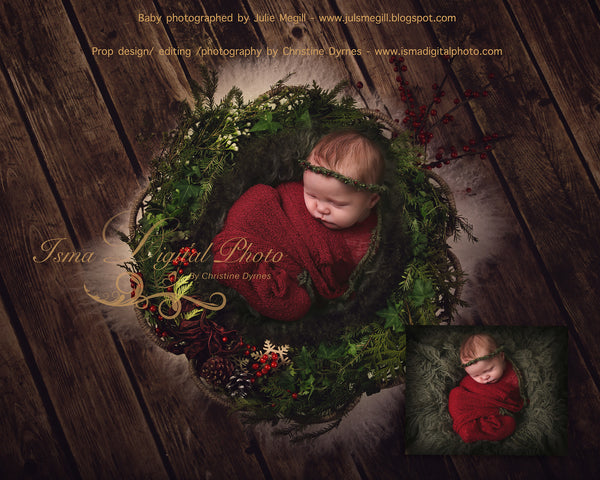 Christmas garland - Digital backdrop /background - psd with layers