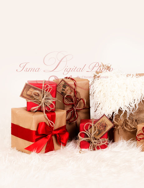 Christmas Gifts 2 - Beautiful Digital background Newborn Photography Prop download - psd with Layers