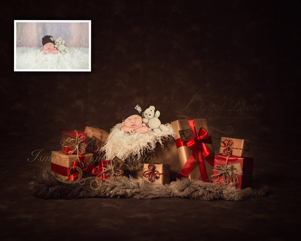 Christmas Gifts With Dark Background 2 - Beautiful Digital background Newborn Photography Prop download - psd with Layers