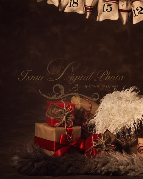 Christmas gifts with - Digital backdrop /background - psd with layers