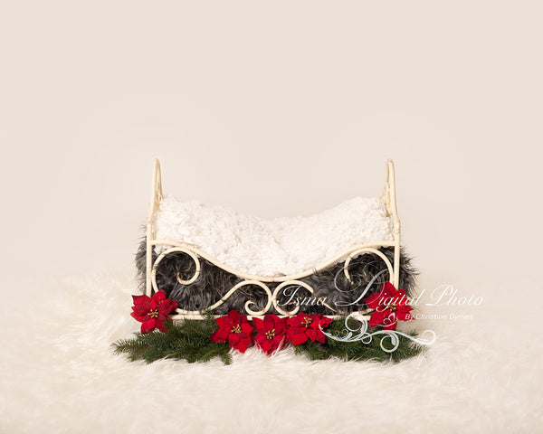 Christmas Iron Bed  - Beautiful Digital background Newborn Photography Prop download - psd with layers