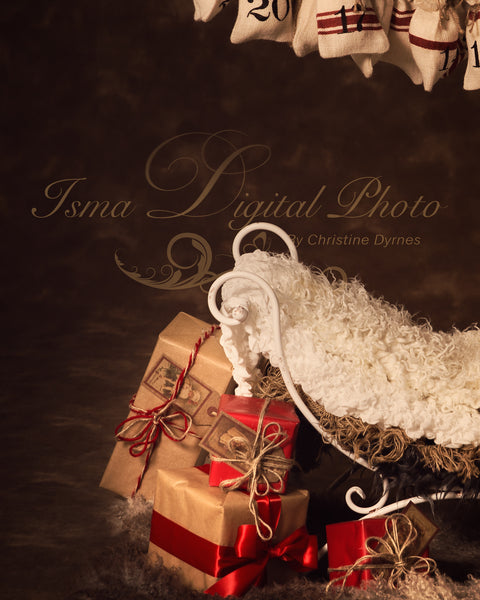 Christmas iron bed chair gifts - Digital backdrop /background - psd with layers