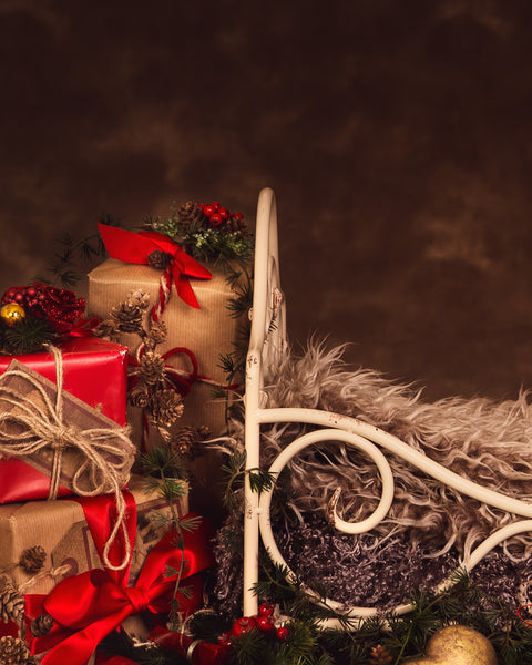 Christmas iron bed with dark brown background - Newborn digital backdrop - psd with layers