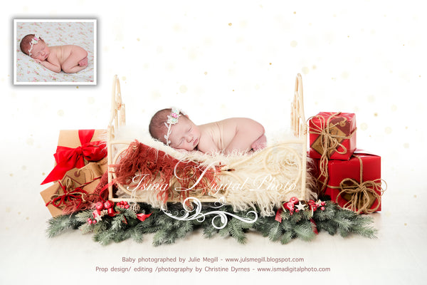 Christmas iron bed with white background 2 - Newborn digital backdrop - psd with layers