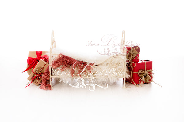 Christmas iron bed with white background - Newborn digital backdrop - psd with layers