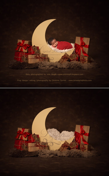 Christmas moon - Digital backdrop /background - psd with layers