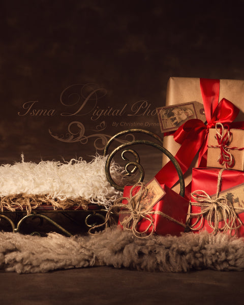 Christmas sled gifts - Digital backdrop /background - psd with layers