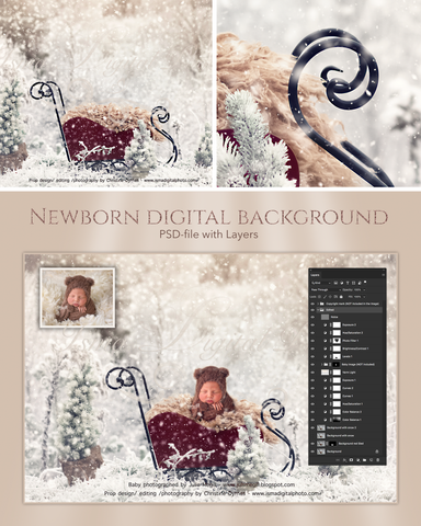 Christmas sled in winter land - Newborn digital background - psd with layers