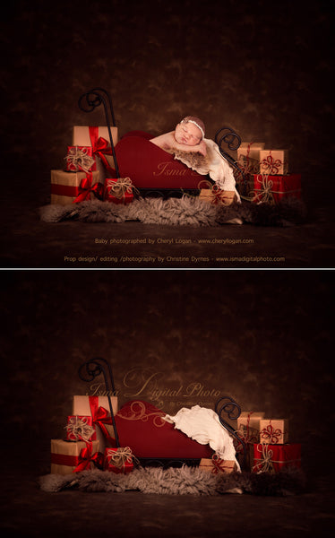 Christmas sleigh with gifts - Digital backdrop /background - psd with layers