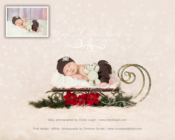 Christmas Sleigh  - Beautiful Digital background Newborn Photography Prop download - psd with layers