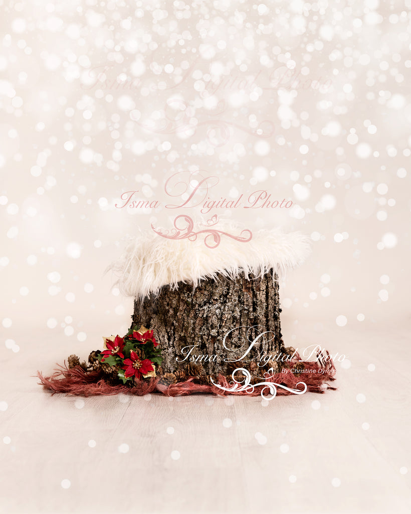 Christmas tree stump newborn digital backdrop psd with