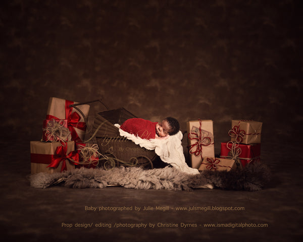 Christmas Vintage Stroller 2 - Beautiful Digital background Newborn Photography Prop download - psd with Layers