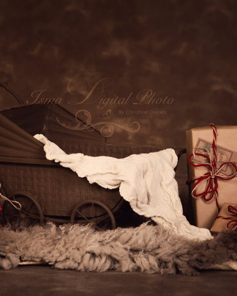 Christmas vintage stroller 2 - Digital backdrop /background - psd with layers