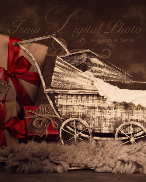 Christmas vintage stroller - Digital backdrop /background - psd with layers