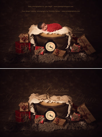 Christmas Weight With Dark Background - Beautiful Digital background Newborn Photography Prop download - psd with Layers