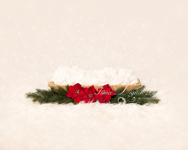 Christmas wooden barrels - Digital backdrop /background - psd with layers
