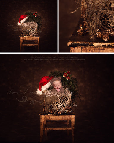 Christmas wooden chair and twine circles bowl 2 - Newborn digital backdrop - psd with layers
