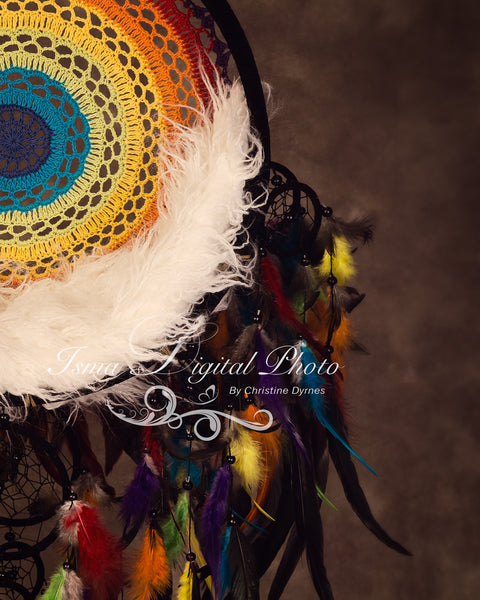 Colorful Dreamcatcher with dark background - Digital photography backdrop /props for newborn photography - psd with layers