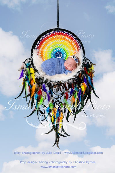 Colorful Dream Catcher With Sky Background - Beautiful Digital backdrop Newborn Photography Prop download - psd with Layers