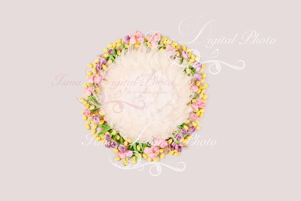 Cute newborn easter background - Digital backdrop - psd with layers