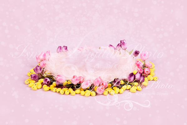 Easter flower nest - Digital backdrop /background - psd with layers