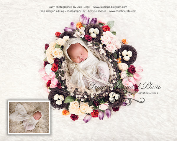Easter Wreath With Flower 2 - Beautiful Digital background Newborn Photography Props download